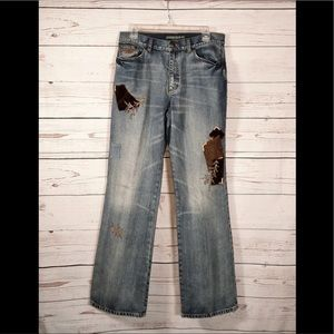 LRL patchwork denim relaxed boho casual distressed